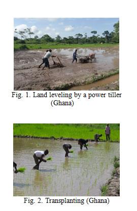Fig.1. Land leveling by a power tiller (Ghana)