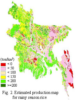Fig.2. Estimated production map for rainy season rice
