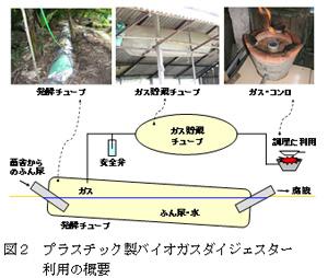 図2 プラスチック製バイオガスダイジェスター利用の概要