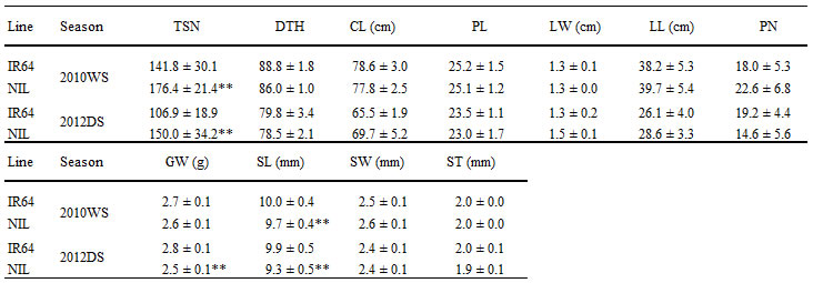 Table 1. Characterization of agronomic traits of IR64 and NIL with qTSN7.1 in the wet season of 2010 and the dry season of 2012.