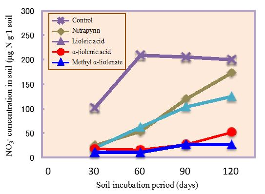 Fig. 3. Relative stability of the inhibitory effects on soil nitrification from linoleic acid, linolenic acid, methyl linoleate and nitrapyrin during 120-day incubation period at 20°C.