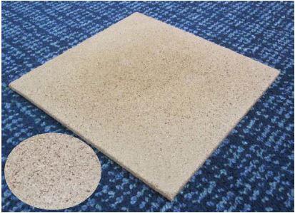 図1 幹粉末を原料としたバインダーレスパーティクルボード(円内は表面の拡大)