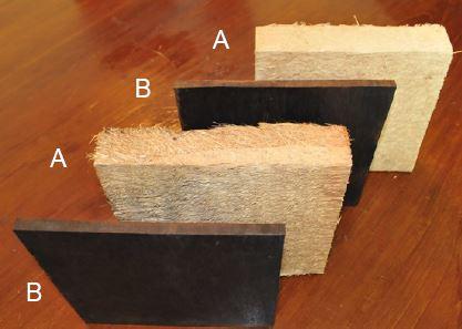 図2 熱圧縮前のオイルパーム幹(A)と熱圧縮処理でできた圧縮板(B)