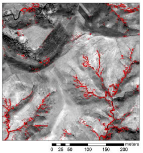 Fig. 1. Image overlay showing the gully erosion-affected areas (in red) extracted from satellite imagery