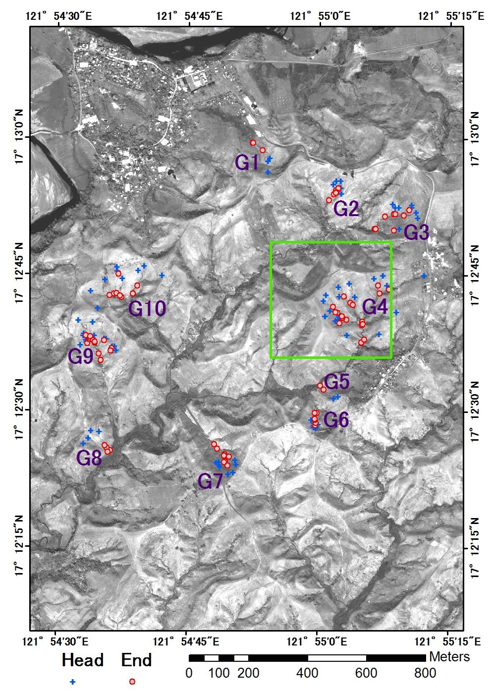 図1 ガリー侵食域抽出結果(赤色部)