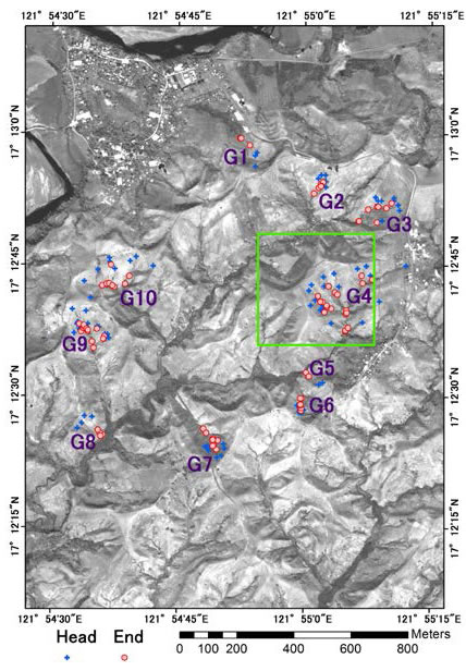 Fig. 2. Location map of gullies surveyed by BSWM (Green rectangle indicates spatial range shown in Fig. 1)