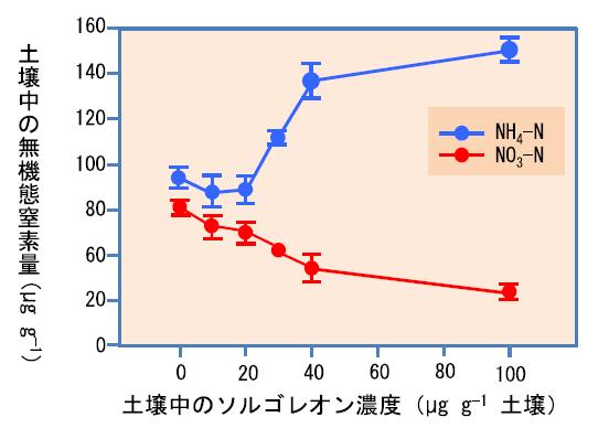図4 ソレゴレオン添加土壌(添加濃度 0、10、20、30、40、100µg g-1)を20°Cで60日間保持した後の無機態窒素(NH4-NとNO3-N)の濃度 土壌への硫酸アンモニウムの添加量はNとして200 µg g-1
