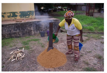 Fig. 1. Charring of saw dust (Kumasi City)