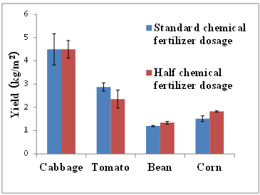 Fig. 2. Vegetable yields after chemical fertilizer application at standard and at half dosage rates in field experiments