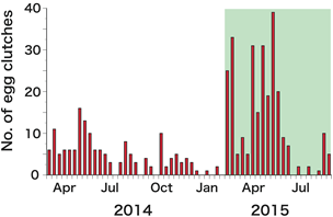 Fig. 2. The number of egg clutches collected at outdoor traps in Laos. (The part shaded in green showed a marked improvement.)
