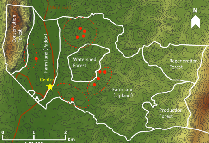 Fig. 1. Firewood harvest locations of target survey villages in Vientiane Capital.