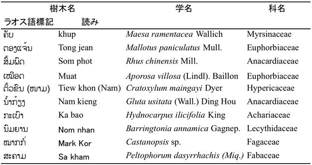 表1 データベースに収録されている焼畑休閑後に出現する樹木の一例
