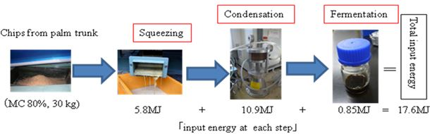Fig. 1. Total energy required for squeezing, condensation, and fermentation from chips of oil palm trunk (17.7MJ)