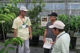 「熱帯果樹ハウスの見学」にて探究心旺盛な市民との質疑・応答