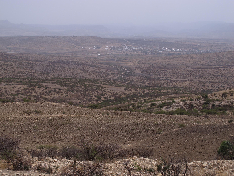 農地と樹林の混在した流域斜面(エチオピア)