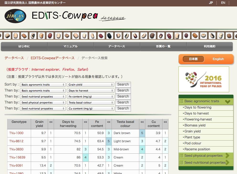 EDITS-Cowpea データベースの検索画面