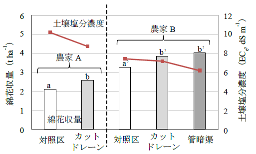 図3 浅層暗渠導入圃場の収量と土壌塩分濃度