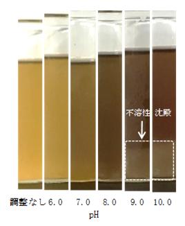 図1 pH調整した時の樹液の様子