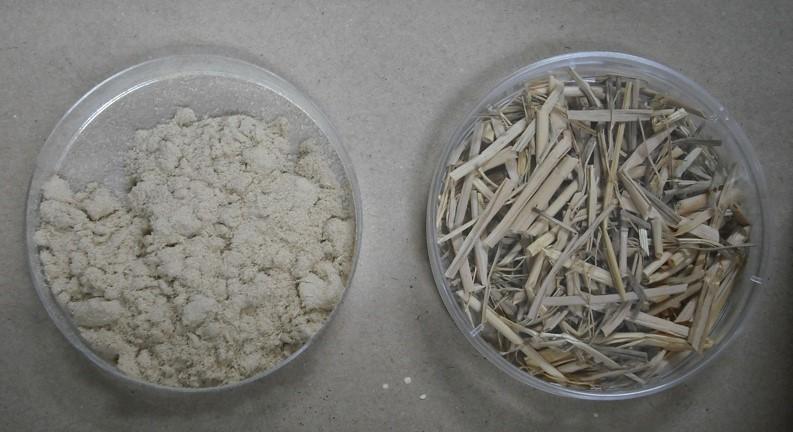 写真1.微粉化装置で稲ワラを微粉化したもの