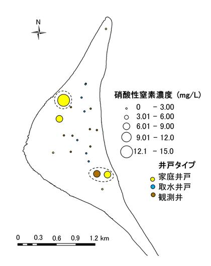 図2 地下水中に含まれる硝酸性窒素濃度