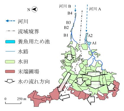 図1 N村の河川AとBの流域概要図1 N村の河川AとBの流域概要