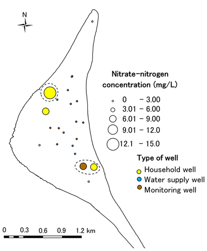 Fig. 2. Nitrate-nitrogen concentrations of groundwater in Laura Island(Feb. – Mar. 2011)Fig. 2. Nitrate-nitrogen concentrations of groundwater in Laura Island(Feb. – Mar. 2011)