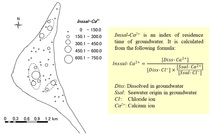 Fig. 3. Inssal-Ca2+ values of groundwater in household wells (Jul. - Aug. 2011)