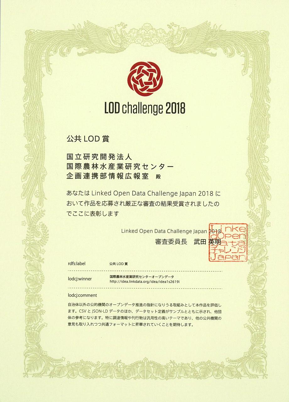 LODチャレンジ2018 公共LOD賞