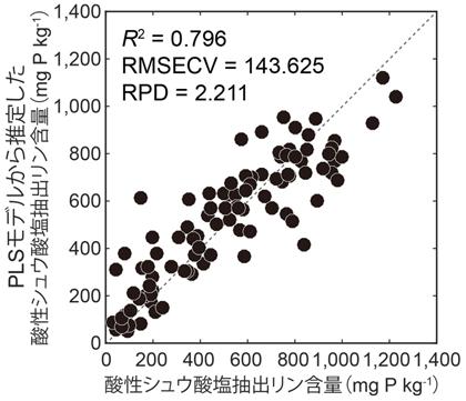 図2 酸性シュウ酸塩抽出リン含量の実測値とPLSモデルによる推定値の関係