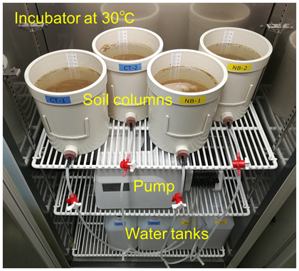 Fig. 1. Apparatus consisting of soil column systems for the three experiments
